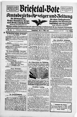 Briesetal-Bote vom 31.05.1924