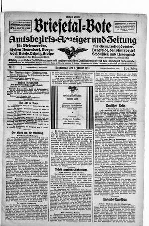 Briesetal-Bote vom 01.01.1925