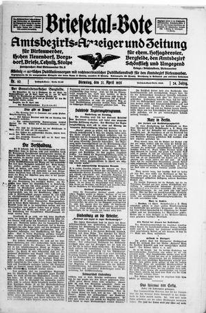 Briesetal-Bote vom 21.04.1925