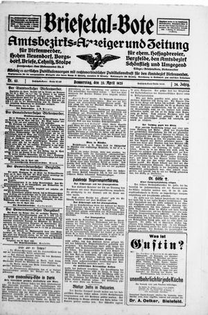 Briesetal-Bote vom 23.04.1925