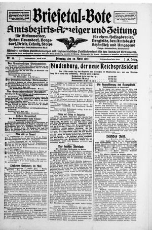 Briesetal-Bote vom 28.04.1925