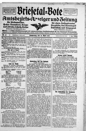 Briesetal-Bote vom 30.04.1925