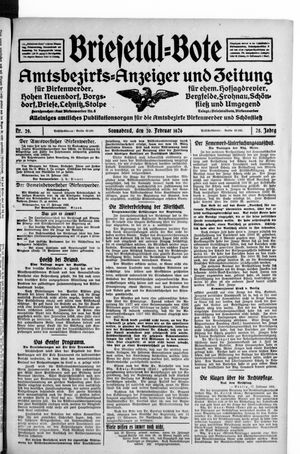 Briesetal-Bote vom 20.02.1926