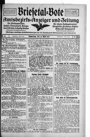 Briesetal-Bote vom 29.04.1926