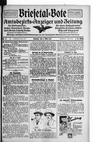Briesetal-Bote vom 09.05.1926