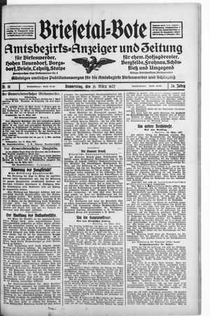 Briesetal-Bote vom 31.03.1927