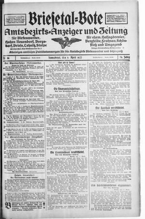 Briesetal-Bote vom 09.04.1927