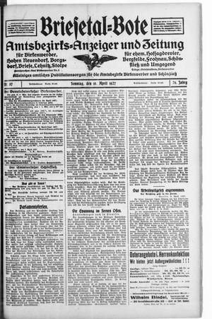 Briesetal-Bote vom 10.04.1927
