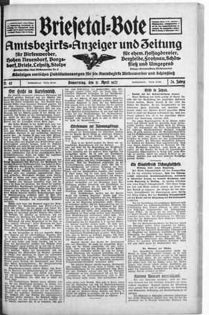 Briesetal-Bote vom 21.04.1927