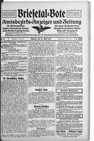 Briesetal-Bote vom 24.04.1927