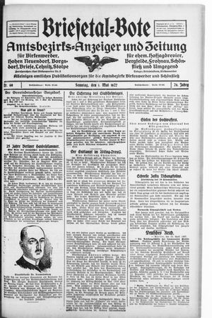 Briesetal-Bote vom 01.05.1927