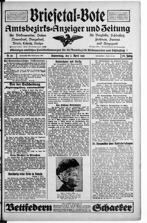 Briesetal-Bote vom 03.04.1930