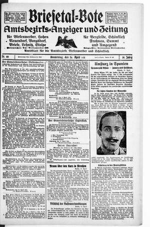Briesetal-Bote vom 16.04.1931