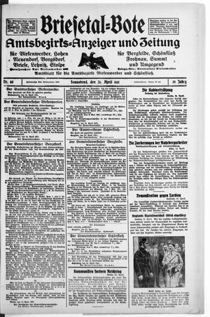 Briesetal-Bote vom 25.04.1931