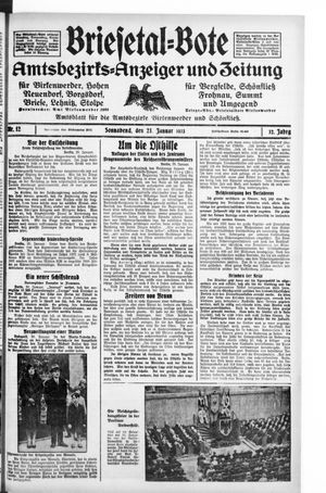 Briesetal-Bote vom 21.01.1933