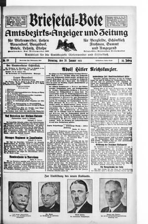 Briesetal-Bote vom 31.01.1933