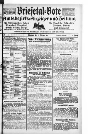 Briesetal-Bote on Feb 7, 1933