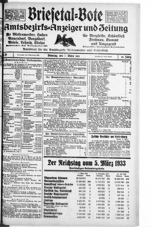 Briesetal-Bote vom 07.03.1933