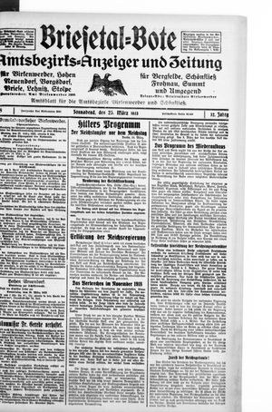 Briesetal-Bote vom 25.03.1933