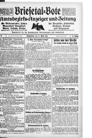 Briesetal-Bote vom 08.04.1933