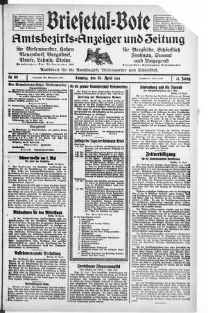Briesetal-Bote vom 30.04.1933
