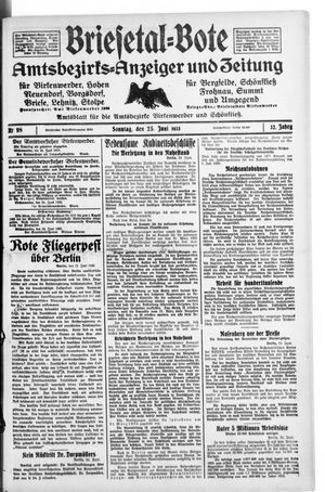 Briesetal-Bote vom 25.06.1933