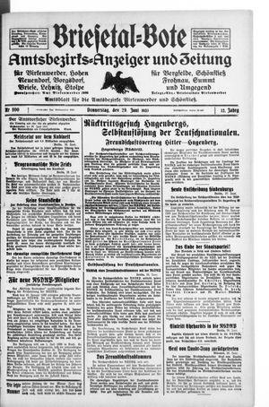 Briesetal-Bote vom 29.06.1933