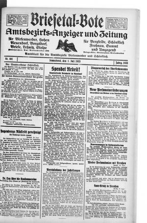 Briesetal-Bote vom 01.07.1933