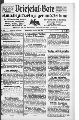 Briesetal-Bote vom 13.07.1933