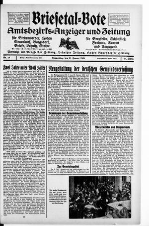 Briesetal-Bote vom 31.01.1935
