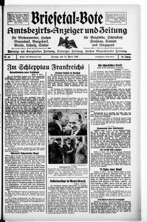 Briesetal-Bote vom 19.04.1935
