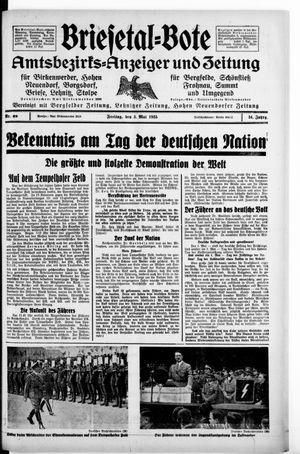 Briesetal-Bote vom 03.05.1935