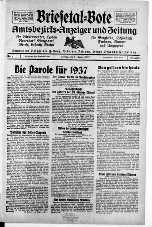 Briesetal-Bote vom 01.01.1937