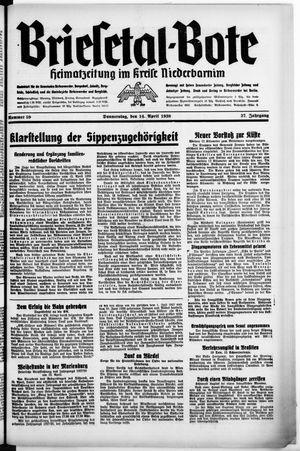 Briesetal-Bote vom 15.04.1938