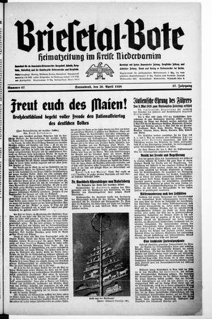 Briesetal-Bote vom 30.04.1938