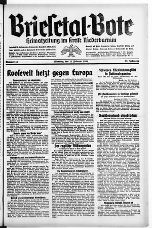 Briesetal-Bote vom 21.02.1939