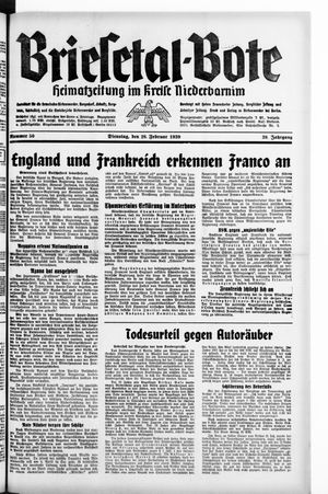 Briesetal-Bote vom 28.02.1939