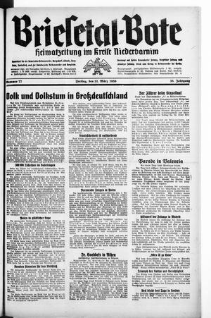 Briesetal-Bote vom 31.03.1939