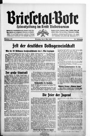 Briesetal-Bote vom 02.05.1939