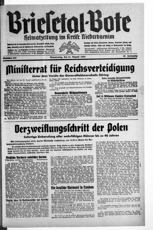 Briesetal-Bote vom 31.08.1939