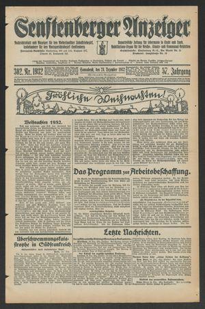 Senftenberger Anzeiger vom 24.12.1932