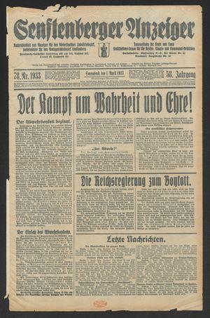 Senftenberger Anzeiger vom 01.04.1933