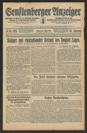 Senftenberger Anzeiger on Apr 3, 1933