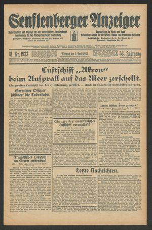 Senftenberger Anzeiger vom 05.04.1933