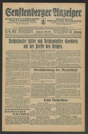 Senftenberger Anzeiger vom 07.04.1933