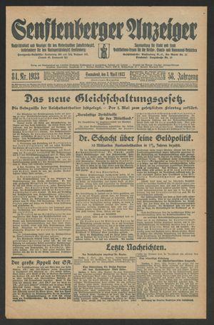 Senftenberger Anzeiger vom 08.04.1933