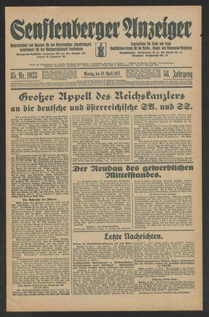 Senftenberger Anzeiger vom 10.04.1933