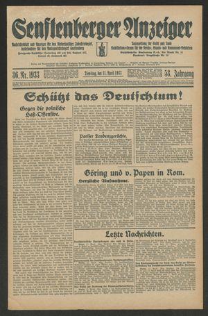 Senftenberger Anzeiger vom 11.04.1933