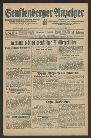 Senftenberger Anzeiger vom 12.04.1933