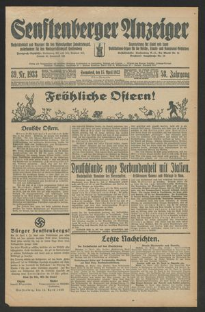 Senftenberger Anzeiger vom 15.04.1933